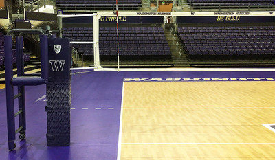 Patriot Professional Steel Volleyball Net System - University of Washington - With Aluminum Clamp On Ref Stand