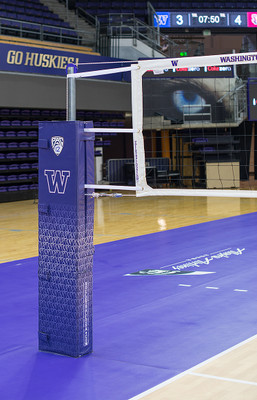 Patriot Professional Steel Volleyball Net System - University of Washington - Side Shot