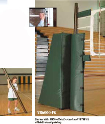 VB-6100 Aluminum With Pads Multi-Sport Volleyball System - Shown with optional VB72 official's stand and VB77P official's stand padding.