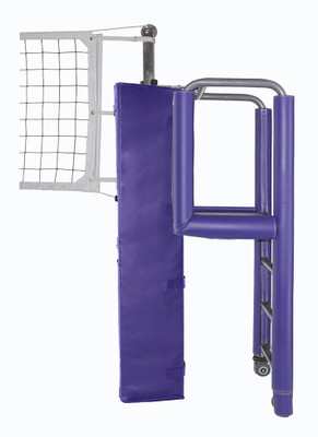 """United 3-1/2"""" PIN-STOP Hybrid Carbon Fiber / Aluminum Volleyball System - Shown with padding."""
