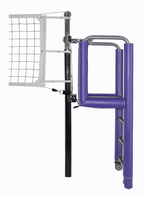 "United 3-1/2"" PIN-STOP Hybrid Carbon Fiber / Aluminum Volleyball System - Shown with optional Aluminum Clamp On official's stand with Tubular padding."