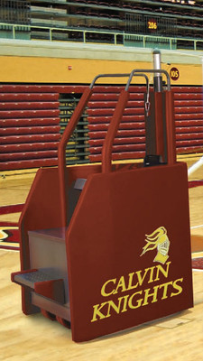 Freestanding Volleyball System with Built In Ref Stand - Side shown includes fold-up referee stand