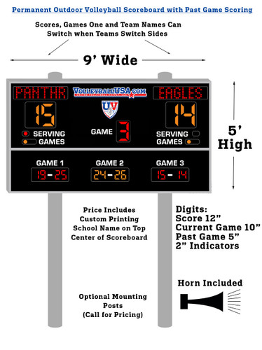Permanent Outdoor Volleyball Scoreboard with Past Game Scoring