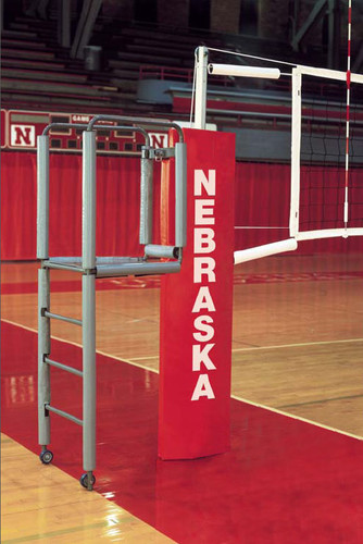VB-1100 Aluminum Pro Series Elite Aluminum Volleyball System - Shown with optional VB72 official's stand and VB77P official's stand padding.