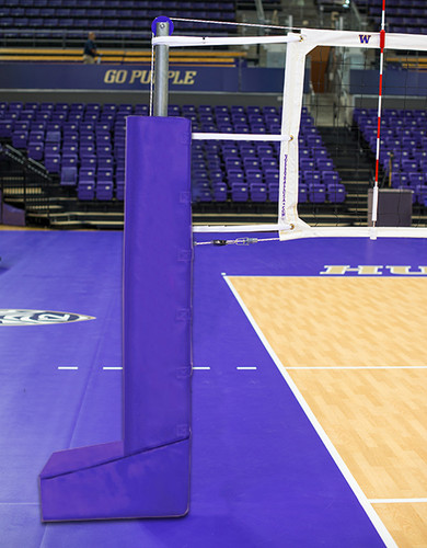 T-Base Dual Anchor Aluminum Volleyball System - Shown with optional base pad