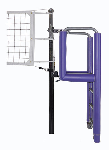 """United 3-1/2"""" PIN-STOP Hybrid Carbon Fiber / Aluminum Volleyball System - Shown with optional Aluminum Clamp On official's stand with Tubular padding."""