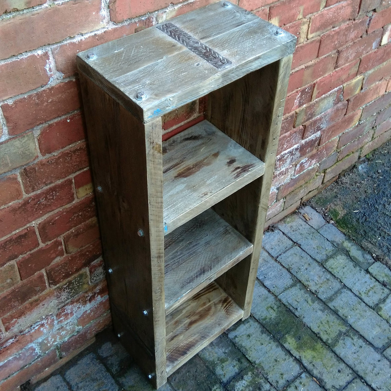 Beautiful 3 Shelve Solid Reclaimed Wood Bookcase Display Or Storage 104x40x22cm
