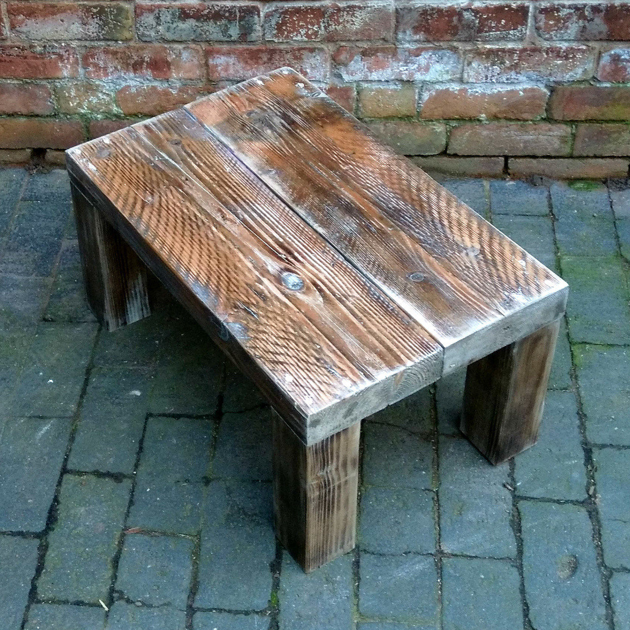 - Unique Handmade Coffee Table. Reclaimed Chunky, Scorched Wood
