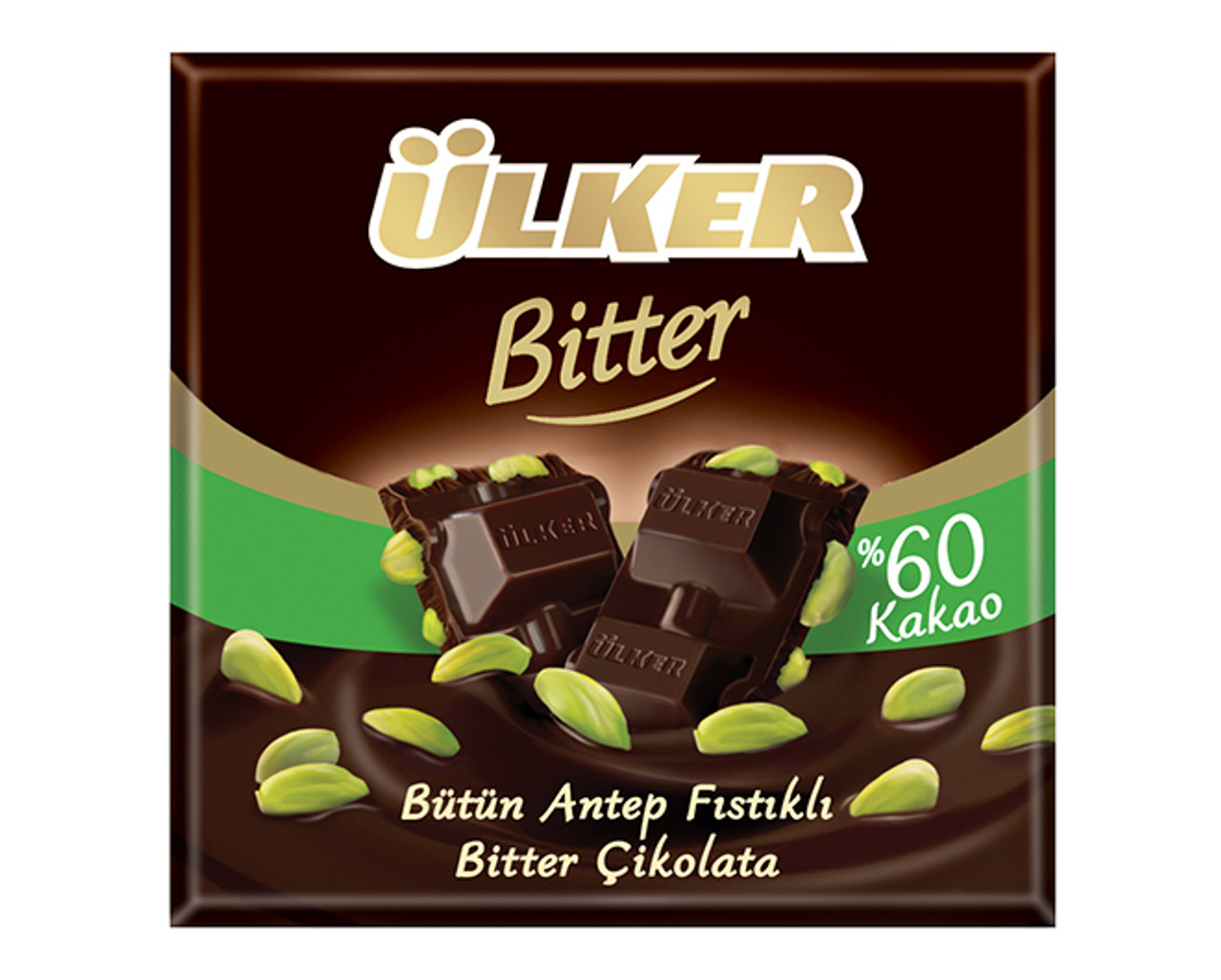 ULKER Golden Bitter Chocolate Bar w/Pistachio 80g