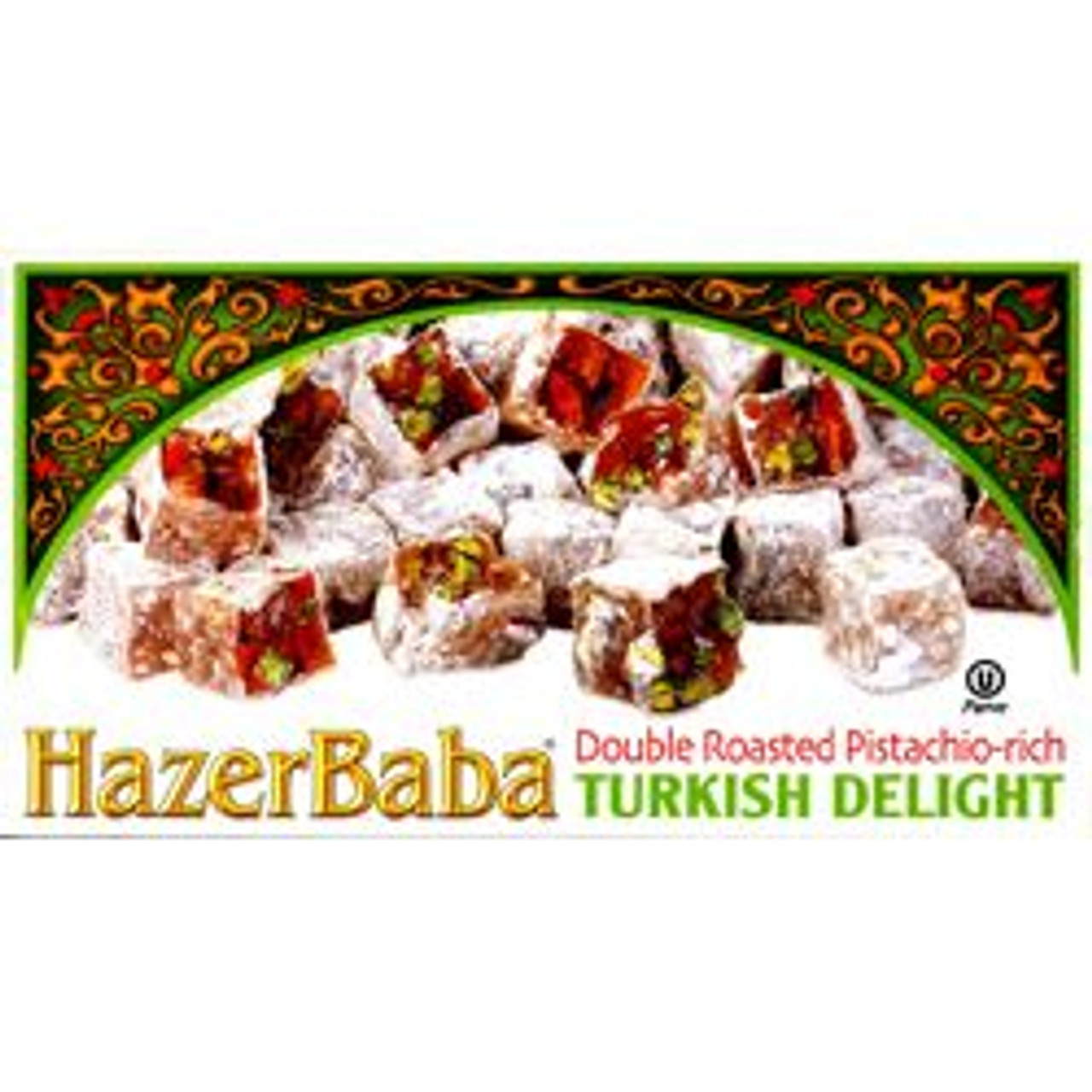 HAZERBABA Double Roasted Pistachio Rich Turkish Delight – 12.3oz (Hazer Baba Çifte Kavrulmuş Antep Fıstıklı Lokum – 350g)