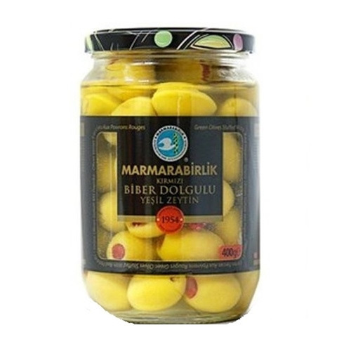 MARMARABIRLIK Green Olives w/Red Peppers - 400g Net Drained Weight