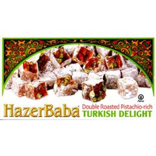 HAZERBABA Double Roasted Pistachio Turkish Delight 12.3oz (Çifte Kavrulmuş Antep Fıstıklı Lokum 350g)