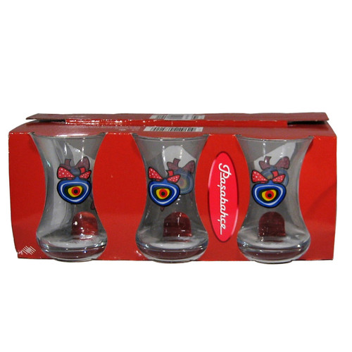 PASABAHCE Tea Glass (Ince Belli) w/Evil Eye 6 pcs