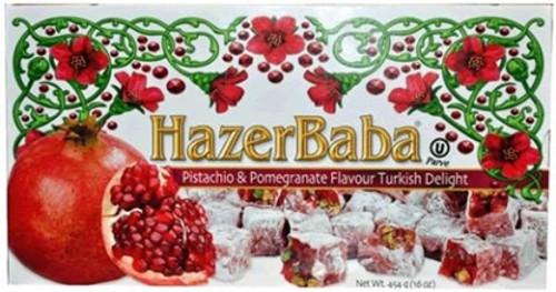 Pomegranate Turkish Delight w/ Pistachios Hazer Baba     454g.