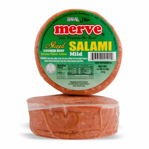 MERVE HALAL BEEF SLICED SALAMI PLAIN 1 LB