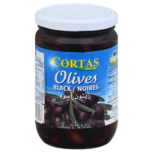 CORTAS Black Olives in Brine - 625g Net Drained Weight