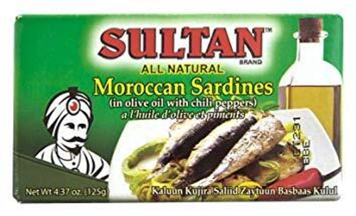 SULTAN Moroccan Sardines in Olive Oil with Chili Peppers 125g