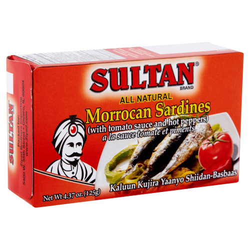 SULTAN Moroccan Sardines with Tomato Sauce and Hot Peppers 125g