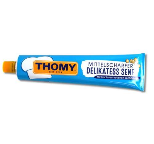 THOMY Delikatess Senf Mittelscharf (Medium Hot Mustard) in Tube 100g