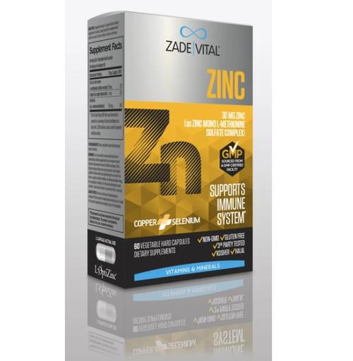ZADE-VITAL Zinc 30mg (60 Vegetable Hard Capsules)