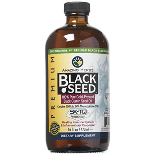 AMAZING HERBS BLACK SEED %100 Pure Cold Pressed Black Cumin Oil 8 oz (240 ml)