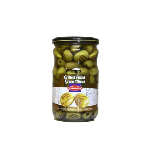 MARMARA Grilled Pitted Green Olives - 400g Net Drained Weight