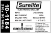 10-1184 Atlantic UV Surelite Ballast - Label