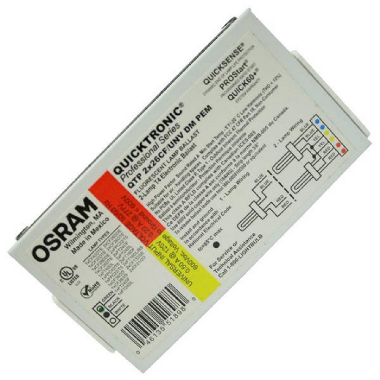 Sylvania Osram Quicktronic 2 Lamp T4 Ballast QTP2X26//32//42CF//UNV DM New