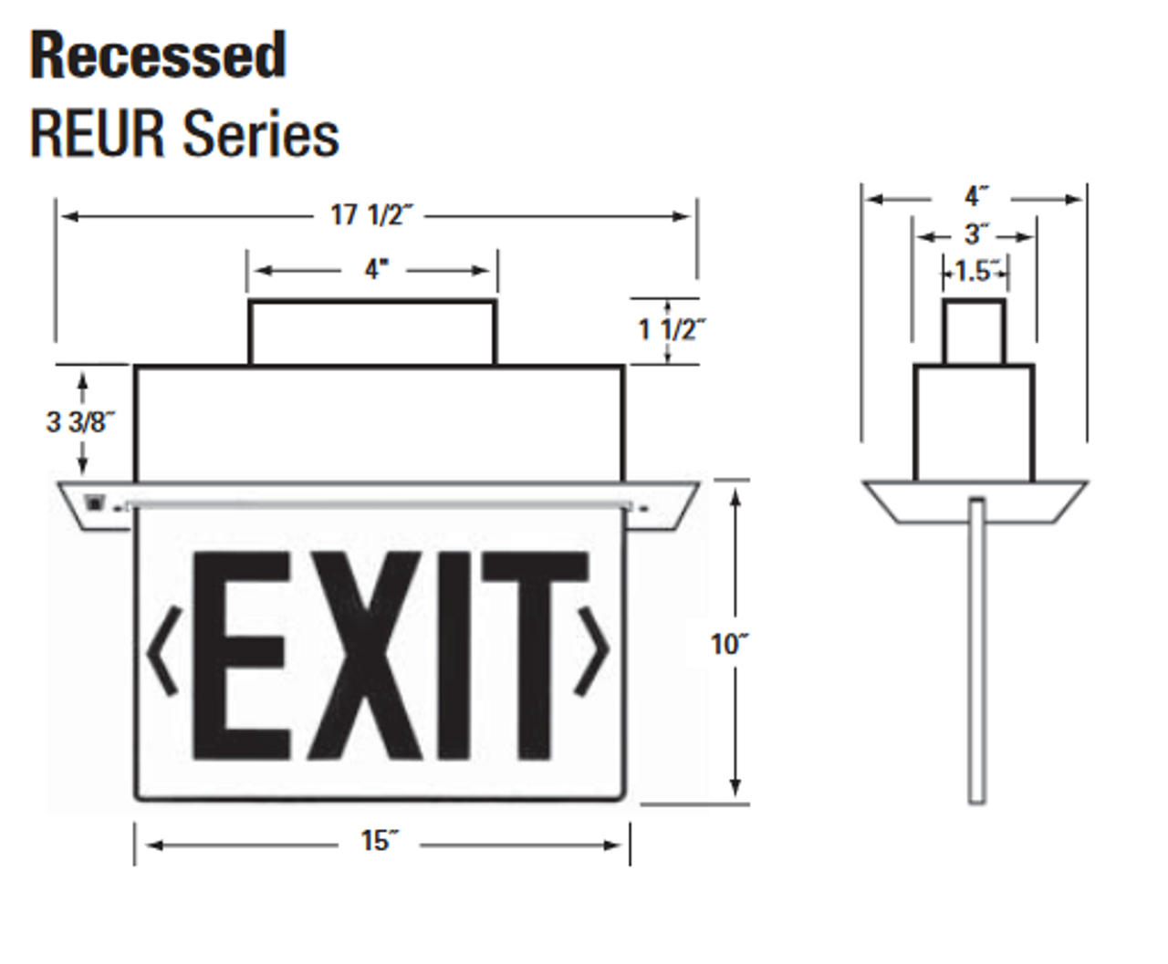 NYCELR-R Recessed Ceiling Mount Edge-lit Exit Signs