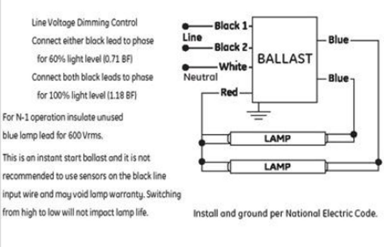 GE232MAX90-S60 (73233) GE | UltraMax® T8 Bi-Level Dimming Ballast | Ge Stepped Dimming Ballast Wiring Diagram |  | BallastShop.com