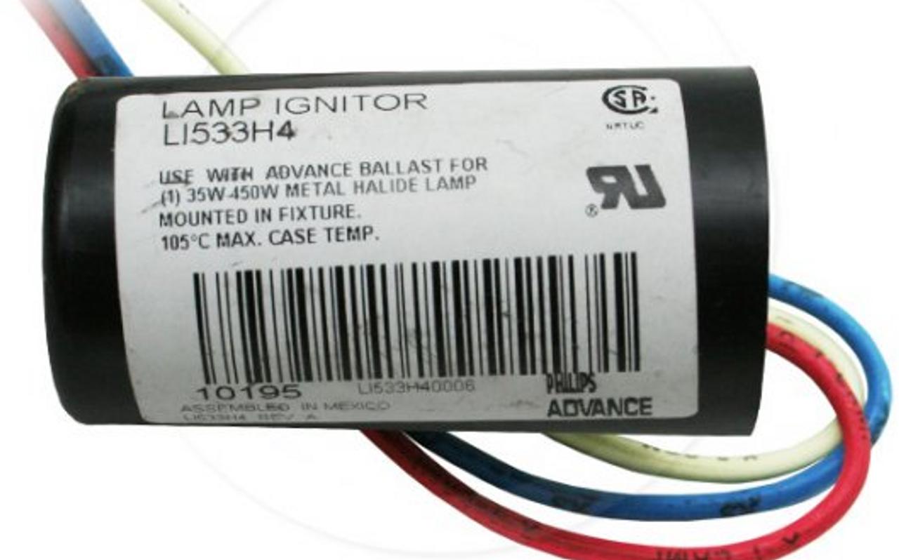 Philips Advance 35-450W Round Metal Halide Lamp Ignitor LI533H4
