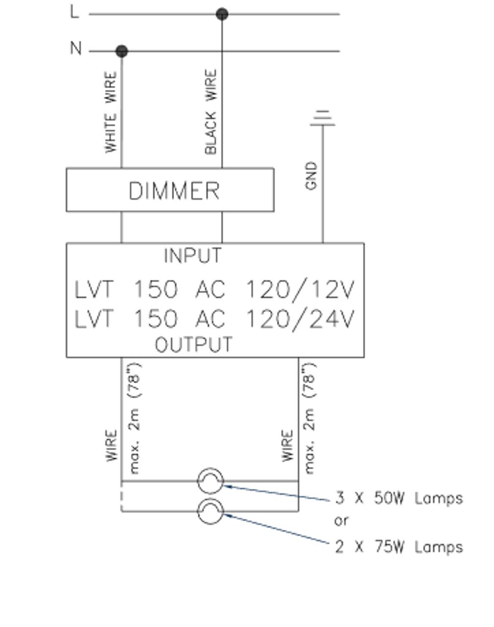 Lightech Lvt 151 24v Transformer 150w 24v Output With Steel Case