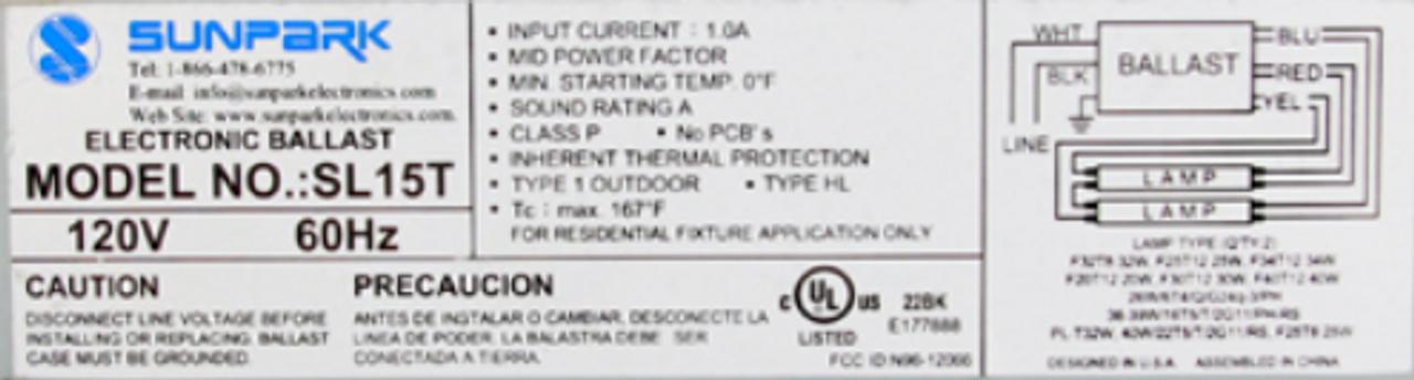 sunpark sl15t ballast · sunpark sl15t label