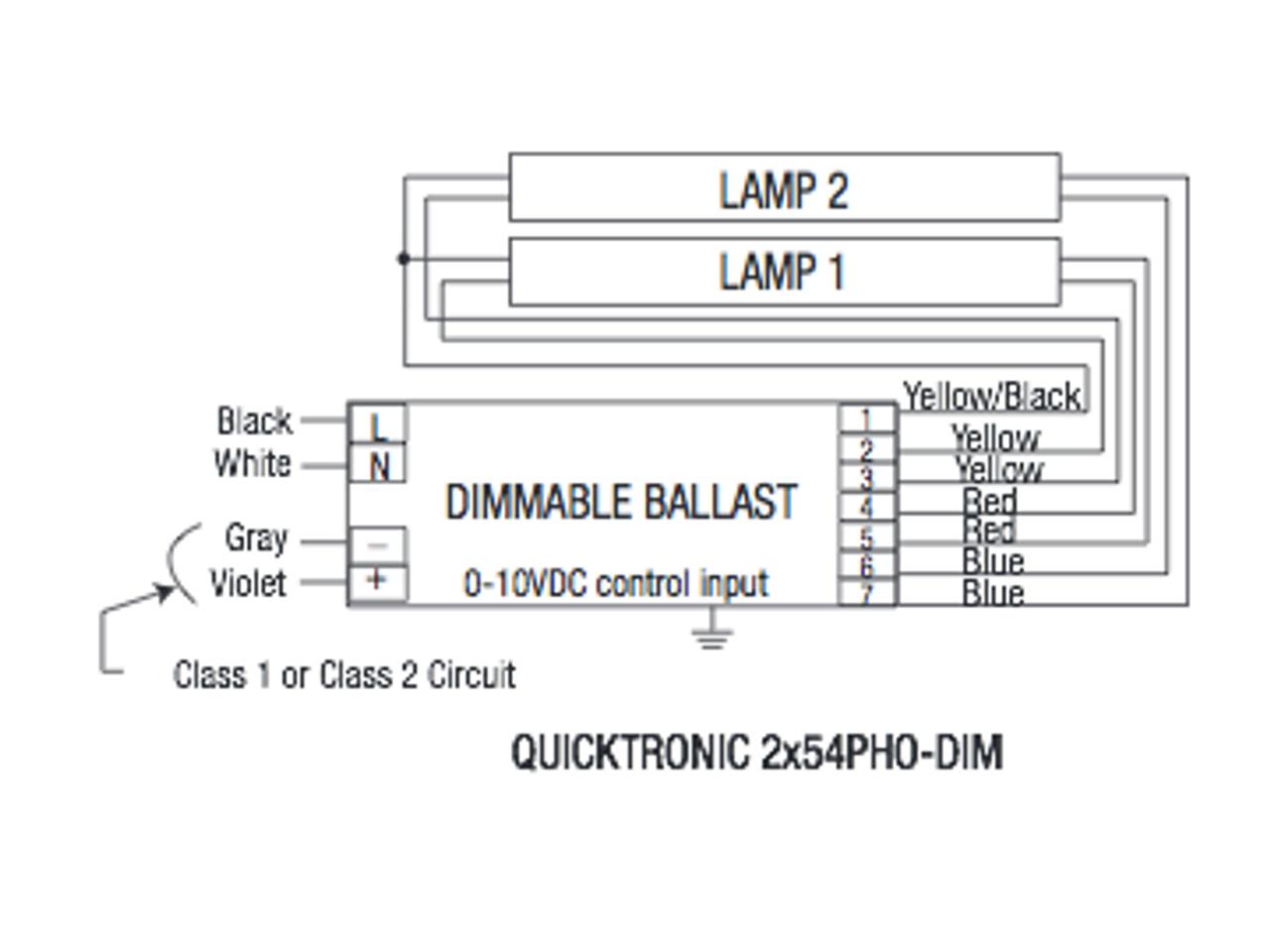 QT2X54/277PHO-DIM Sylvania 49674 Fluorescent Ballast on