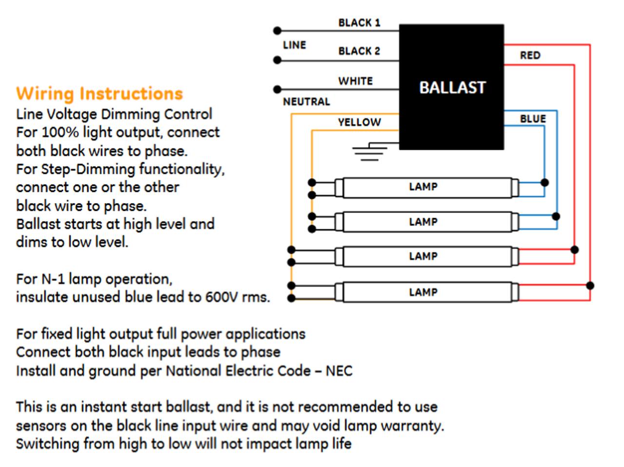 GE432MAX90-S60 GE 73229 | UltraMax® T8 Bi-Level Dimming Ballast | Ge Stepped Dimming Ballast Wiring Diagram |  | BallastShop.com