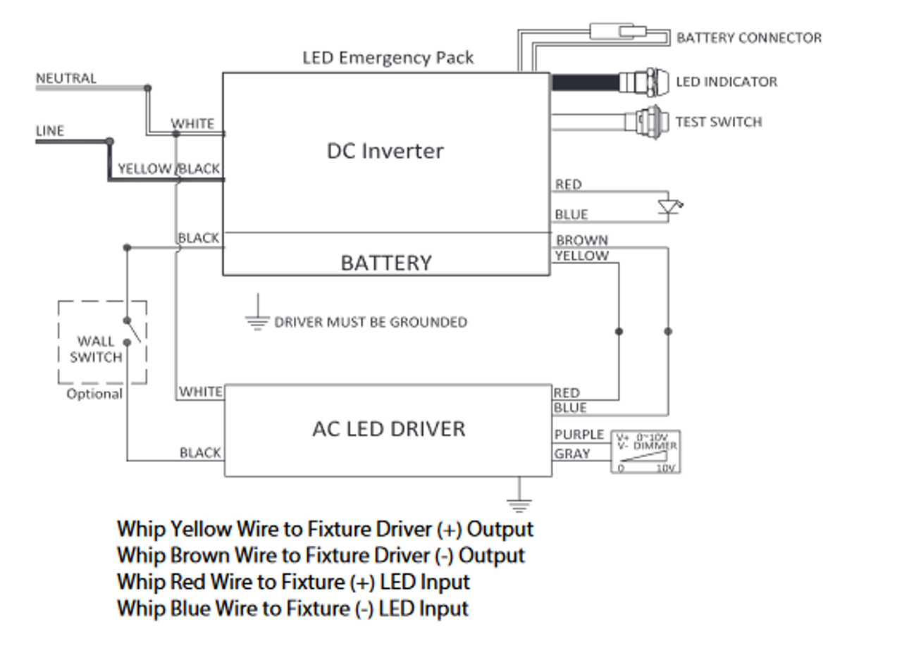 LEDD120-277V/15-55V-20W DAMAR Emergency Lighting Ballast | Fluorescent Ballast Wiring Diagram 277v |  | BallastShop.com