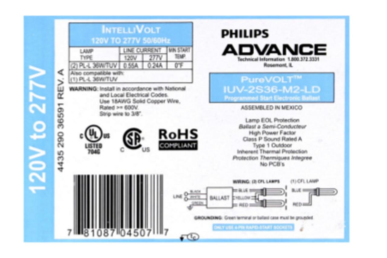 Advance Mark 10 Powerline REZ-2Q26-M2-LDK - 2 Dimming 120 Volt 1.0 Ballast Factor 26 Watt CFL Lamp Fluorescent Ballast