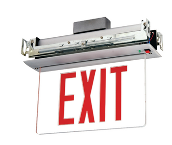 NYCELR-R-1 Recessed Ceiling Mount Edge-lit Exit Sign