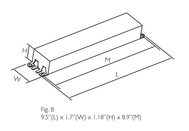 B234SR120M-A Universal Ballast Dimensions