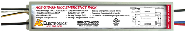 ACE-G10-55-190C AC Electronics Emergency Back-up LED Driver