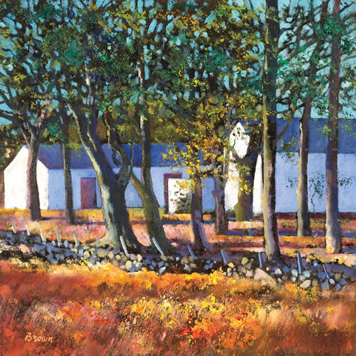 Farm Buildings through Trees by Davy Brown