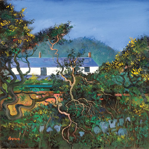 Cottages with Gorse Bushes by Davy Brown