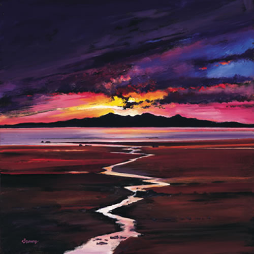 Sunset Over, Arran by Davy Brown