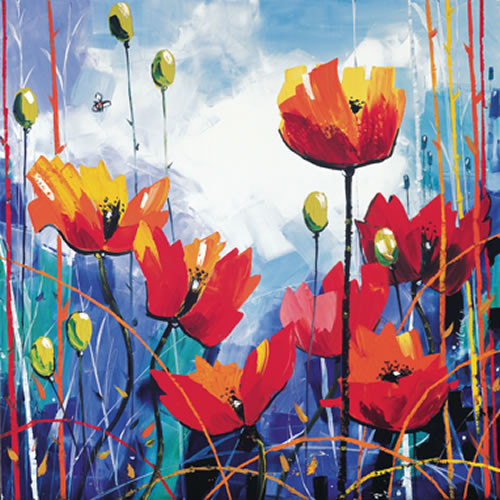 Poppies in Blue by Daniel Campbell