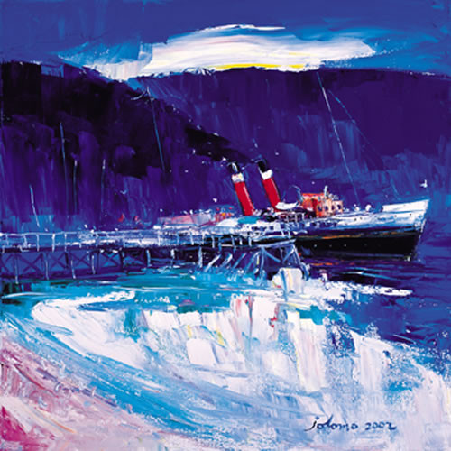 The Waverley at Tighnabruaich Pier by John Lowrie Morrison