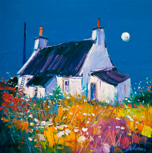 Croft and Moon, Isle of Gigha by John Lowrie Morrison