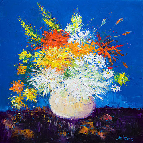 Big Blooms White Vase by John Lowrie Morrison