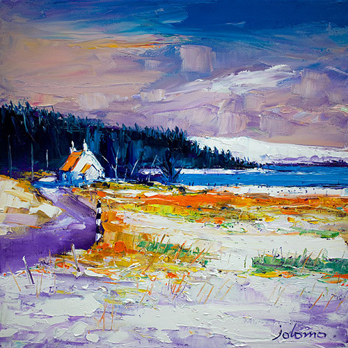 First Snow At Pennyghael Mull by John Lowrie Morrison