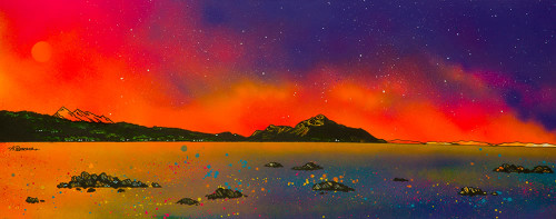 Arran Summer Sunset over The Holy Isle and Goatfell from Whiting Bay, Arran, Ayrshire, Scotland - A landscape by Scottish artist Andy Peutherer  (Open Edition Print )