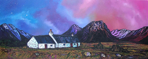 Black Rock Cottage, The Buachaille Early Spring, Glencoe, Scottish Western Highlands - A landscape by Scottish artist Andy Peutherer  (Open Edition Print )